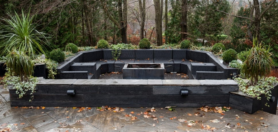 hard landscaping and fire pit by MPG Construction