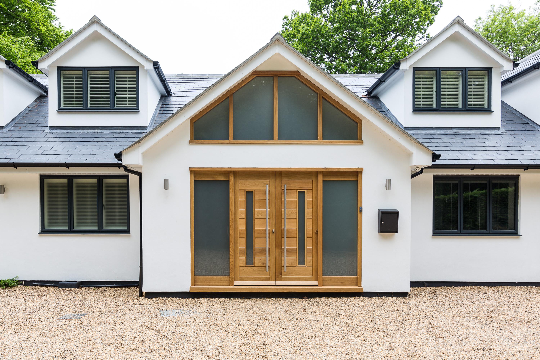 oak double front door and gable
